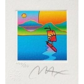 """Sailboat w/ Sun & Moon, Ltd Ed Litho (Mini 3.5"""" x 3""""), Peter Max"""