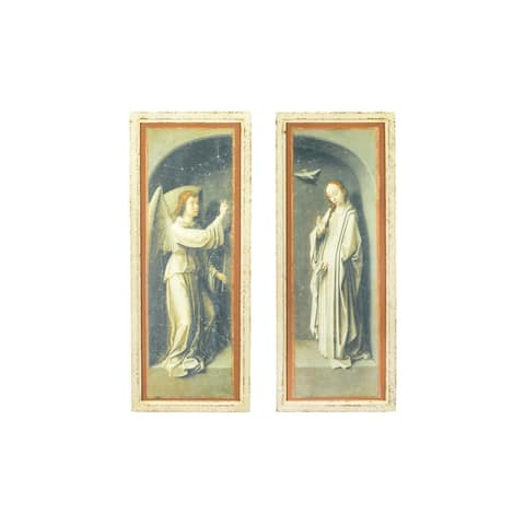"59""H Vintage Reproduction Angel & Mary Wall Decor with Distressed Finish & Wood Frame (Set of 2 Styles) - Distressed Black"