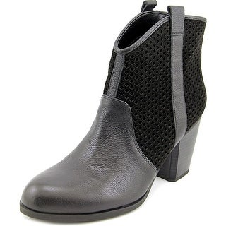 Fergie Towson Women Round Toe Leather Black Ankle Boot