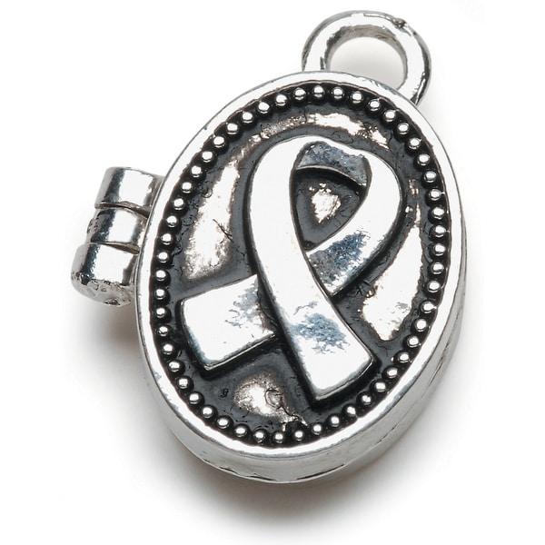 Prayer Box Metal Charm 1/Pkg-Antique Silver Ribbon