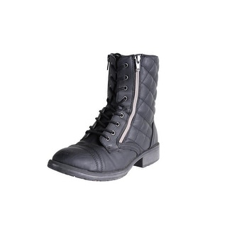 Steve Madden Girls J Talker Combat Boots Quilted Lace Up