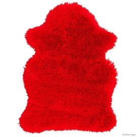 "Allstar Red Rug, High Quality Faux Sheep / Polar Bear Shape, No-Shedding, Ultra- Extended Pile Height Shag (2' 11"" x 3' 11"")"
