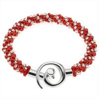 Spiral Beaded Kumihimo Bracelet (Red/Cryst) - Exclusive Beadaholique Jewelry Kit
