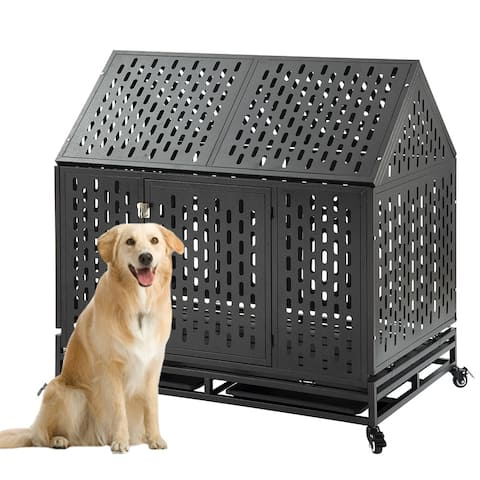 Heavy Duty 45'' Roof Dog Crate Cage Kennel