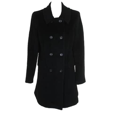 Dkny Black Wool Blend Double-Breasted Walker Coat - 10
