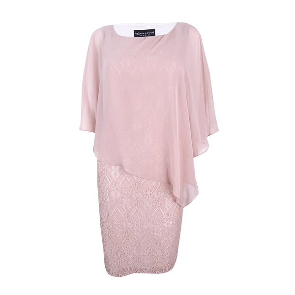 2a46658eee Shop Connected Women's Lace Cold-Shoulder Cape Dress - Free Shipping ...