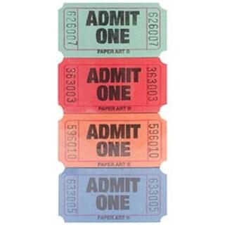Red; Blue; Orange & Green - Admit One Tickets 2000 Tickets/Roll