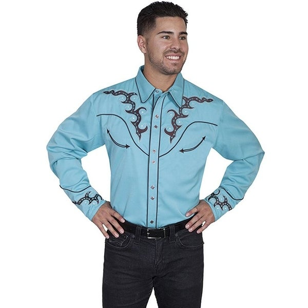1cb5a83b30 Shop Scully Western Shirt Men L S Snap Embroidered Stars L Mint P-752 -  Free Shipping Today - Overstock - 15414206
