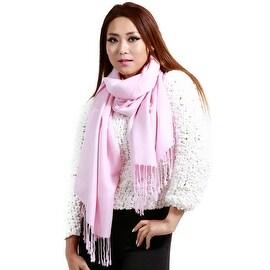 """Fringed Pashmina Silk Large Scarf, 27""""x72"""", Pink"""