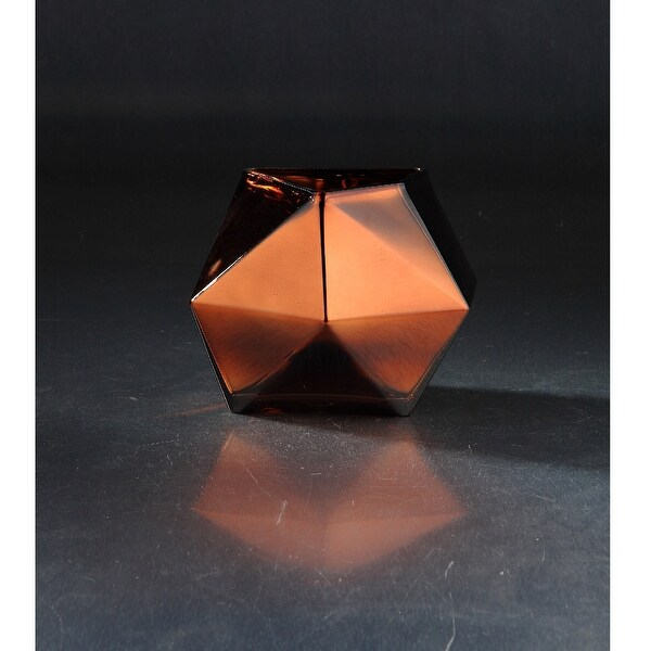 """8"""" Chocolate Brown Geometric Faceted Glass Vase - N/A"""