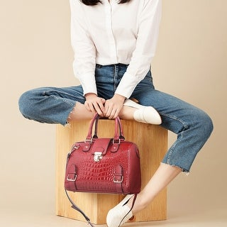 Link to Dasein Croco Embossed Barrel Handbags Purses with Wristlet Similar Items in Shop By Style