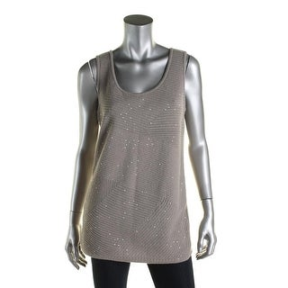 Lafayette 148 Womens Tank Top Sweater Cashmere Sequined - L