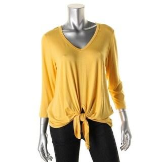 Karen Kane Womens Slub V-Neck Pullover Top