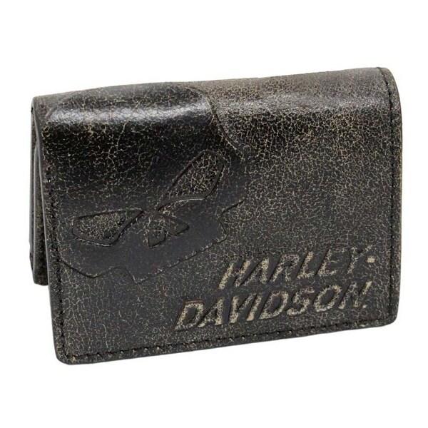 """Harley-Davidson Men's Burnished Tri-Fold Skull Wallet Leather BM2647L-TanBlk - 4.75"""" x 3.75"""""""