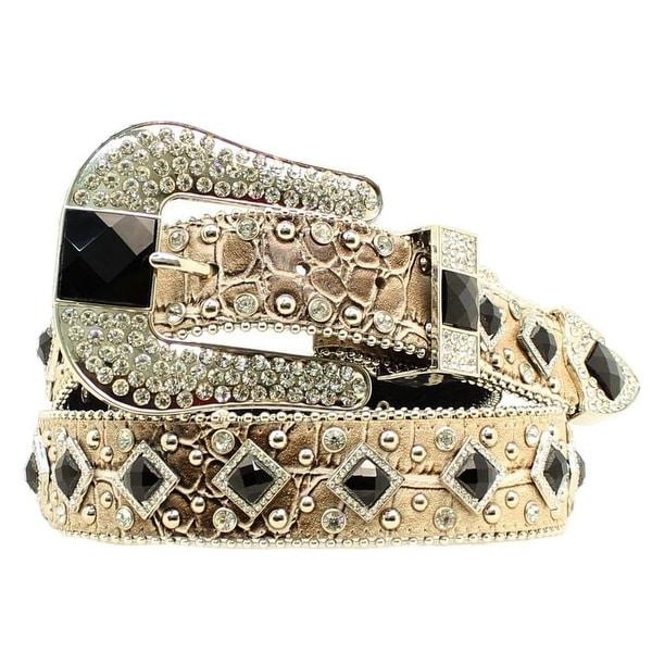 Nocona Western Belt Womens Croc Rhinestones Diamond Tan