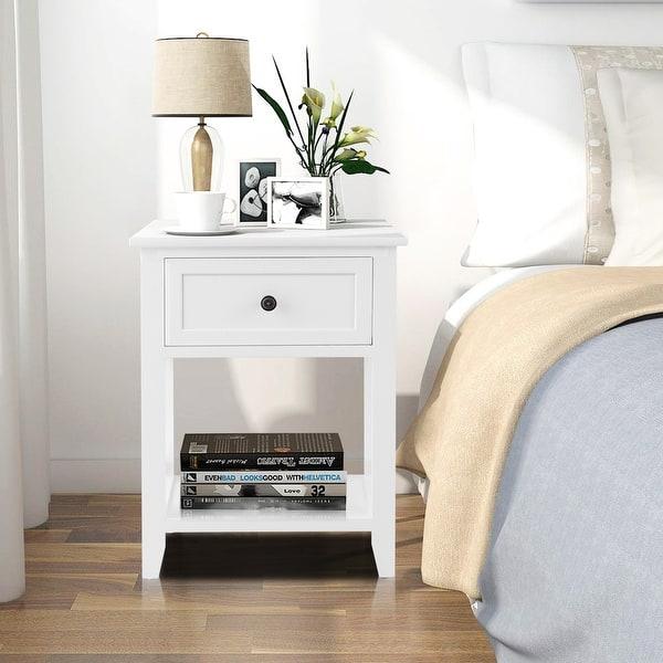 Shop Costway End Bedside Table Nightstand Drawer Storage Room