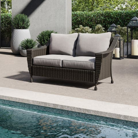 Patio Loveseat - Patio Furniture - Handwoven Wicker - Rome Collection