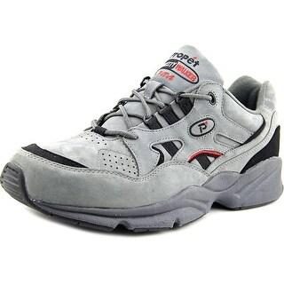 Propet Stability Walker Men  Round Toe Leather Gray Walking Shoe