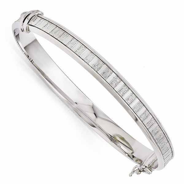 Italian Sterling Silver Polished Glimmer Infused Bracelet