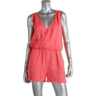 Zara Basic Womens Linen Sleeveless Romper - M