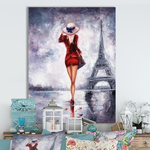 Designart 'Woman in Paris' Cottage Canvas Wall Art