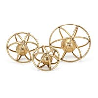 Set of 3 Gold Colored Galaxy Design Wire Frame Tabletop Deco Balls 10""