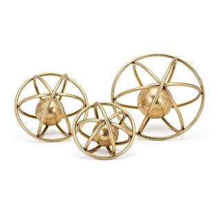"""Set of 3 Gold Colored Galaxy Design Wire Frame Tabletop Deco Balls 10"""""""