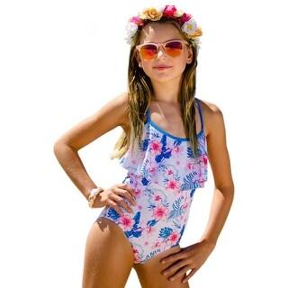 Sun Emporium Little Girls Ocean Blue Floral Print Criss Cross 1 Pc Swimsuit