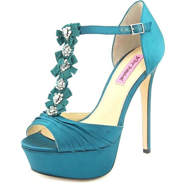 Betsey Johnson Elizabth Women Peep-Toe Canvas Heels