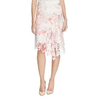 Elie Tahari Womens Lennon Straight Skirt Floral Print Lace Overlay