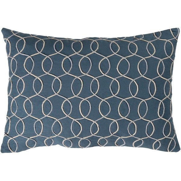 "19"" Medium Gray and Dark Blue Contemporary Pattern Woven Knife Edge Throw Pillow - Down Filler"