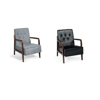 Costway Lounge Chair Mid-Century Retro Modern Accent Chair Tufted Back Upholstered