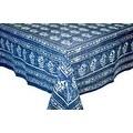 Handmade Dabu Floral Block Print 100% Cotton Tablecloth Indigo Blue Rectangular Square Round - Thumbnail 5