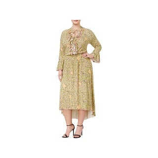 Melissa McCarthy Seven7 Womens Plus Wear to Work Dress Floral Ruffled