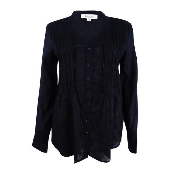 401e238d48 Shop Two by Vince Camuto Women s Split Neck Linen Blouse - On Sale ...