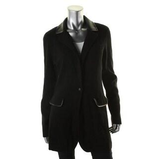 Ralph Lauren Womens Casual Blazer Faux Leather Trim Knit - l