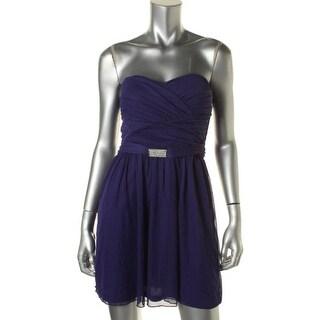 Teeze Me Womens Juniors Sweetheart Strapless Semi-Formal Dress