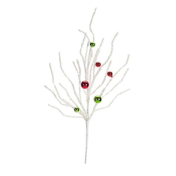 Club Pack of 12 Festive White Branch Spray with Red and Green Ornaments 24""