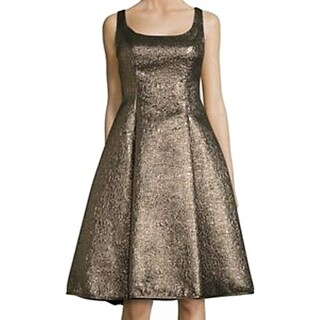 Nicole Miller NEW Gold Womens Size 6 Square-Neck A-Line Sheath Dress