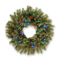 "24"" Norwood Fir Wreath with Multicolor LED Lights - green"