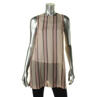 Theory Womens Petites Silk Striped Blouse - p