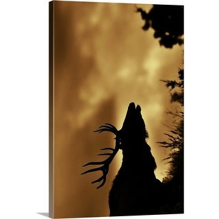 """""""Moose in silhouette with copper colored sunrise. Yellowstone national park."""" Canvas Wall Art"""