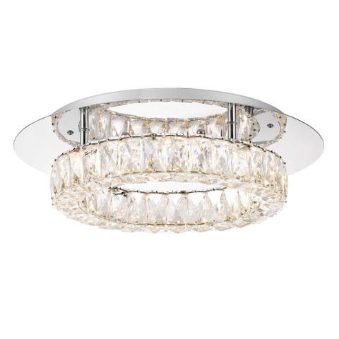 Galaxy 1-Light Integrated LED Clear Crystal Flush Mount 7 in. H