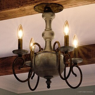 "Luxury French Country Semi-Flush Ceiling Light, 15.5""H x 18""W, with Colonial Style, Grey-Washed Wood, Antique Black Finish"