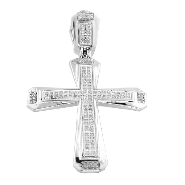 Cross with Diamonds for Men Sterling Silver 30MM Tall Measures 30MM Tall By MidwestJewellery - White