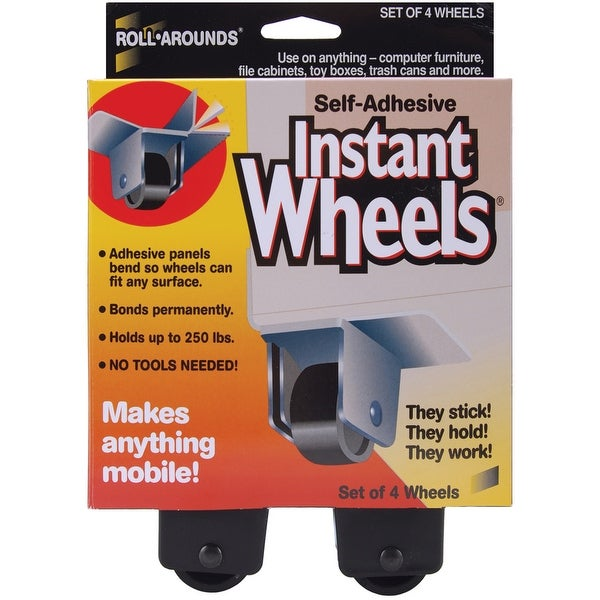 "Self-Adhesive Instant Wheels-1""X1.5"" 4/Pkg"