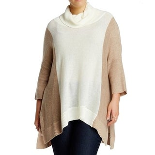 Sweet Romeo NEW Beige Women's Size 2X Plus Colorblock Poncho Sweater