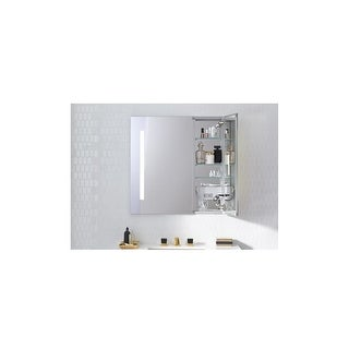 "Robern AC3030D4P2L AiO 30"" x 30"" x 4"" Double Door Medicine Cabinet w/ Large Door at Left, Task Lighting, & Interior Illumination"