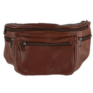 Leather Impressions Leather Large Multi Pocket Waist Pack - one size