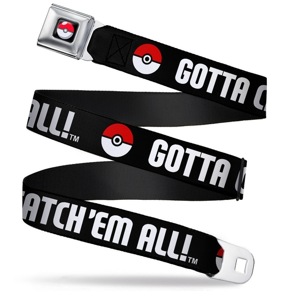 Pok Ball Full Color Black Pok Ball Gotta Catch 'Em All Black White Red Seatbelt Belt